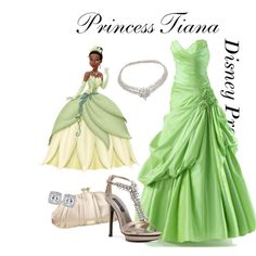 Disney Prom: Princess Tiana by turquoiseivy on Polyvore featuring Adrienne Maloof, Nine West, Van Cleef & Arpels, light, silver, marsh, new orleans, floral, accents and formal