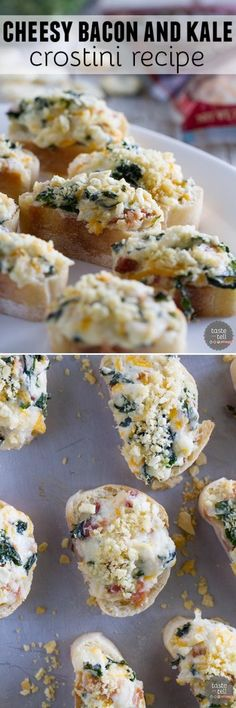 Looking for a crowd pleaser?  This Cheesy Bacon and Kale Crostini Recipe is filled with tons of flavor and texture and is perfect for any party or get-together.