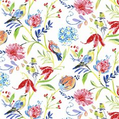 This is a multi pink, yellow, blue and green floral and bird design linen blend drapery fabric, suitable for any decor in the home or office. Perfect for pillows, drapes and bedding.v117APEF