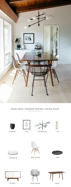 This minimalist mid century dining room featured by Remodelista gets recreated for less by copycatchic luxe living for less budget home decor and design daily finds and room redos