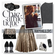 """""""Metallic Skirt"""" by yukotange ❤ liked on Polyvore featuring Marc Jacobs, Uniqlo, Chloé, Gucci, metallic, gucci, midiskirt and Minime"""