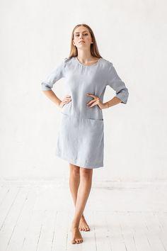 9b6b334351 Linen dress  Minimal linen dress  Linen tunic  Minimal linen tunic  Washed  linen dress  Linen clothes  Loose dress