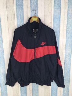7aef70988922c0 NIKE Windbreaker Jacket Large Vintage 90s Nike Streetwear Nike Big Swoosh  Sportswear Nike Air Windru