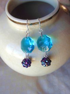 Blue Vintage Chandelier Crystal  Earrings Upcycled by leannbutler, $13.00