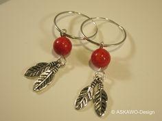 Creolen - Creolen mit roter Koralle - ein Designerstück von ASKAWO-Design bei DaWanda