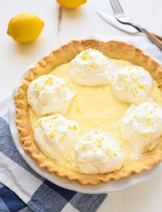 The BEST, silkiest Lemon Cream Pie. This is my grandmother's original recipe and has been in my family more than 50 years! Easy Lemon Pie, Lemon Pie Recipe, Lemon Recipes, Baking Recipes, Lemon Desserts, Sweet Desserts, Just Desserts, Easy Delicious Recipes, Healthy Dessert Recipes