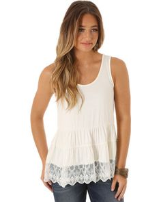 Wrangler Women's Sleeveless Tiered with Lace Hem Top | Sheplers