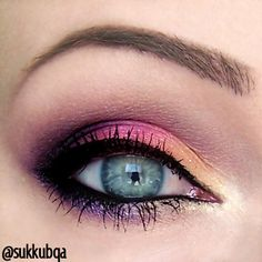 Violet, pink and yellow eye makeup