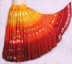 Beautiful Tribal Belly dance Bollywood 4 tier Skirt hand dipped dyed in multi % Cotton and Viscosemade from shimmery sari fabric pieces 25 YD and Dance Outfits, Skirt Outfits, Dance Dresses, Dance Oriental, Style Indien, Belly Dancer Costumes, Flamenco Skirt, Tribal Belly Dance, Long Skirts For Women