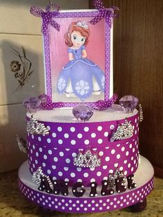This is a sofia the first BIrthday party centerpiece! You can buy this now on Etsy.com Angilee123