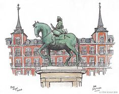 Sketched in the early morning on our last morning in Spain. This is the horseback statue of King Philip III (so, not the Mayor) Urban Sketchers, Early Morning, Drawing Reference, Cool Art, Art Projects, Illustration Art, Sketches, Posters, Scrapbook
