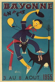 Vintage Poster - illustration - fete - 1955
