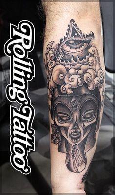 R sultat de recherche d 39 images pour santa muerte catrina dessin id es de tatouages - Santa muerte tatouage signification ...