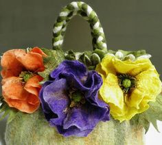 felted wool purse Dream Poppies purse felted with by crafts2love, $199.00