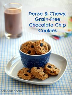 Six Degrees of Kathy Smart, Grain-Free Chocolate Chip Cookies and Gluten-Free Smart Store (Diet, Dessert and Dogs) Gluten Free Sweets, Dairy Free Recipes, Vegan Recipes, Vegan Treats, Healthy Desserts, Vegan Chocolate Chip Cookie Recipe, Cookies Vegan, Chickpea Cookies, Chocolate Chips