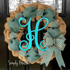 Teal Chevron Burlap Wreath 22 inch front door by SimplyBlessedGift