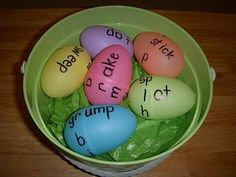 Using Easter eggs you create word families. The one side of the egg contains all of the onsets and the other side contains all of the rimes. The kids place them together to create word families. Learning Activities, Kids Learning, Activities For Kids, Teaching Ideas, Teaching Rules, Easter Activities, Holiday Activities, Literacy Stations, Literacy Centers