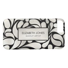 #makeup #artist #makeupartist - #Cream Platinum / Silver Swirl  Pattern on Black iPhone 8/7 Case