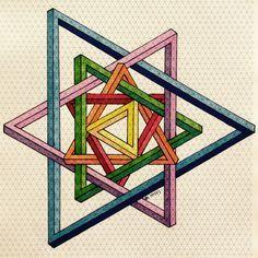 Risultati immagini per geometric form impossible Penrose Triangle, Steam Art, Graph Paper Art, Platonic Solid, Arte Tribal, Sacred Geometry Art, Isometric Art, Mc Escher, Math Art