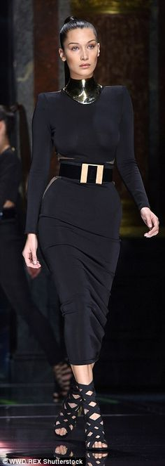 Bella Hadid goes braless in racy sheer-paneled LBD #dailymail
