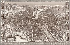 Paris map 17th century scanned version of an by InstantPrintable, $1.80