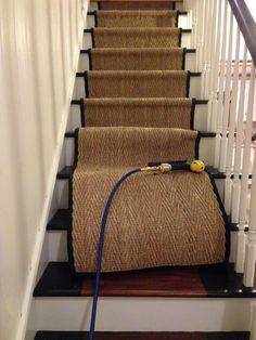 installing seagrass safavieh stair runner - for the basement stairs Staircase Runner, Modern Staircase, Staircase Design, Sisal Stair Runner, Carpet Runner On Stairs, Craftsman Staircase, Wood Staircase, Spiral Staircases, Basement Stairs