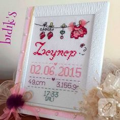 Simple Hand Embroidery Patterns, Cross Stitch Patterns, Baby Birth, Kids Corner, Diy And Crafts, Baby Shower, Frame, Projects, Gifts