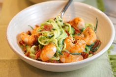 Alfredo Zoodles with Garlic Shrimp and Bacon
