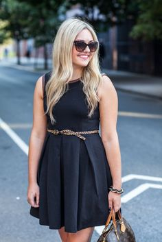 Leather-Trim LBD — bows & sequins