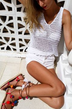Slouchy white top and full of color espadrilles.....