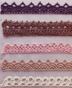 Crochet edging styles you won't learn from your friends Crochet Border Patterns, Crochet Boarders, Crochet Lace Edging, Crochet Hook Set, Crochet Motifs, Crochet Diagram, Thread Crochet, Crochet Trim, Easy Crochet