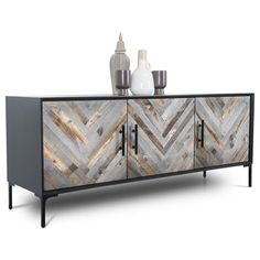 ModShop The Amalfi Sideboard is perfect for any spaces, with recycled wood doors. Surrounded by a matte finish, the wood pieces placed on the doors create a large herringbone effect. Modern Sideboard, Sideboard Buffet, Credenza, Modern Buffet Table, Black Buffet Table, Retro Sideboard, Buffet Tables, Large Sideboard, French Furniture