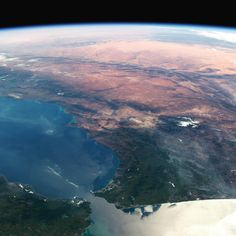 Strait of Gibraltar bottom with Spain on the left looking south over Africa