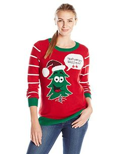 Ugly Christmas Sweater Womens Tree Balls on Me Pullover Cayenne S >>> You can find more details by visiting the image link.