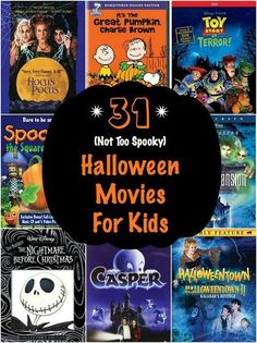 The ultimate collection of 31 Halloween movies for kids that the whole family will enjoy. The only question is which children's Halloween movies to watch first. Kid Friendly Halloween Movies, Halloween Movies List, Halloween Songs, Halloween Crafts For Kids, Disney Halloween, Family Halloween, Holidays Halloween, Spooky Halloween, Halloween Traditions