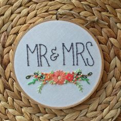Mr & Mrs Floral Bouquet Embroidery Hoop Art by TheBarmyFoxShoppe