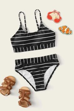 Girls Striped Top With High Waisted Bikini Bathing Suits For Teens, Summer Bathing Suits, Swimsuits For Teens, Cute Bathing Suits, Kids Swimwear, Cute Swimsuits, Trendy Swimwear, Kids Suits, Bikini Outfits