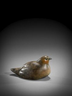 #Bronze #sculpture by #sculptor Simon Gudgeon titled: 'Sitting Partridge (life size Bronze Coloured Bird statuette sculpture)'. #SimonGudgeon