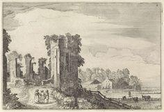 Jan van de Velde (II)   Figuren bij het Huis ter Kleef bij Haarlem, Jan van de Velde (II), 1616   Figuren bij het Huis ter Kleef bij Haarlem. Op de achtergrond een boerderij. Twaalfde prent van deel twee van een serie van in totaal zestig prenten met landschappen, verdeeld over vijf delen van elk twaalf prenten.