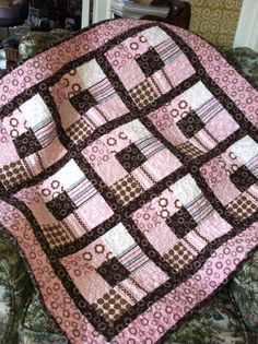 Cozy pink white and brown baby girl cotton flannel by annmoody, $125.00