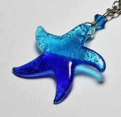 Starfish Necklace Jewelry Beach Silver Cobalt Blue Aqua Dichroic Glass Crystal Long Chain Pendant Star Fish Sea...Caribbean Dream. $38.00, via Etsy.