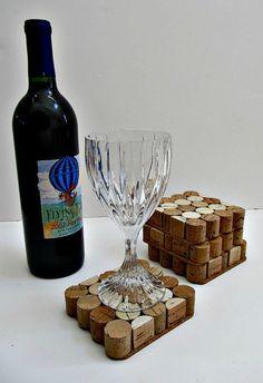 Square Wine Cork Coasters - Set of Four - Wine Accessory, Home Decor, Holiday Entertaining, Housewarming Gift, Wedding Gift, Christmas Gift