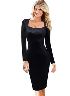 VFSHOW Womens Sexy Elegant Square Neck Work Business Bodycon Sheath Dress  1072 BLK XS c94aa5bda