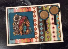 """Entered in simonsaysstampblog.com Wednesday """"Happy Birthday"""" Challenge. Matted card front with stripped paper. Cut turquoise square and punch 2 circles, affix to card front, add black ribbon under circles. Attached coin embellishments. Stamp image 2 times with Versamark, emboss with black powder, color with markers. Cut apart headdress of  2nd image, attach to 1st with foam dots. All cut pieces edged with black marker, dotted line around square. Birthday card made for my brother."""