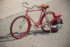 RM Sotheby's - National Bicycle with Briggs & Stratton Motor Wheel Cool Motorcycles, Vintage Motorcycles, Bicycle Engine, Powered Bicycle, Old Bicycle, Motorized Bicycle, Pedal Cars, Mini Bike, Classic Bikes