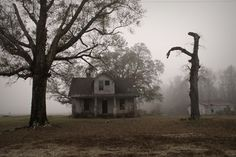 with eerie stillness and low hanging fog, the house sat amidst a field beckoning any who would dare go inside.oh the things they would find Abandoned Houses, Abandoned Places, Haunted Places, Gothic Aesthetic, American Gothic, Southern Gothic, Imagines, The Conjuring, Small Towns