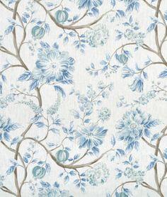 Portfolio Errington Lake Floral Fabric in blue and white