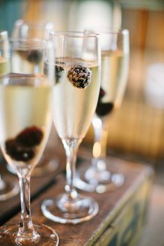Champagne cocktail with a splash of fresh blackberries! Photo: Ashley Seawell