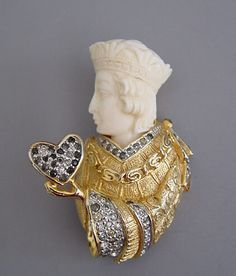 """ROSENSTEIN King brooch with ivory head, body in gold tone set with clear rhinestones, some graying, 1-5/8""""."""