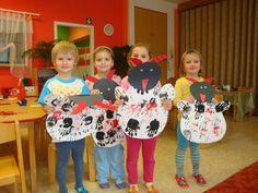 čerti s otisky rukou Advent, Art For Kids, Art Projects, Christmas Crafts, Kindergarten, December, Santa, Children, Winter